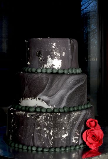 Marble Wedding Cake With Silver Accents