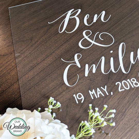 Clear acrylic wedding sign,