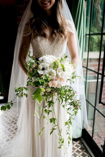 cascading bouquet white with greenery
