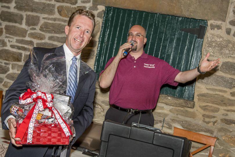 Giving away prize basket