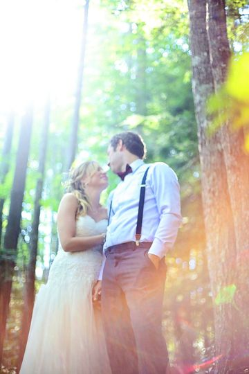 Wedding in a sunny forest