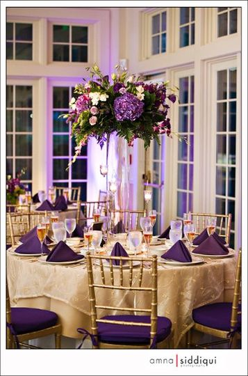 Table setting with purple accents