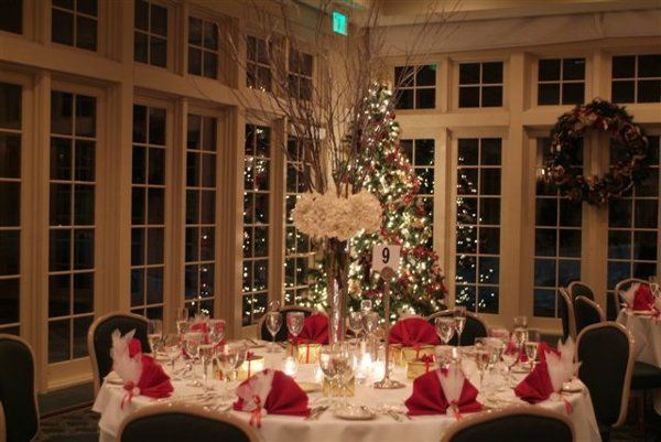 Table setting with red accents