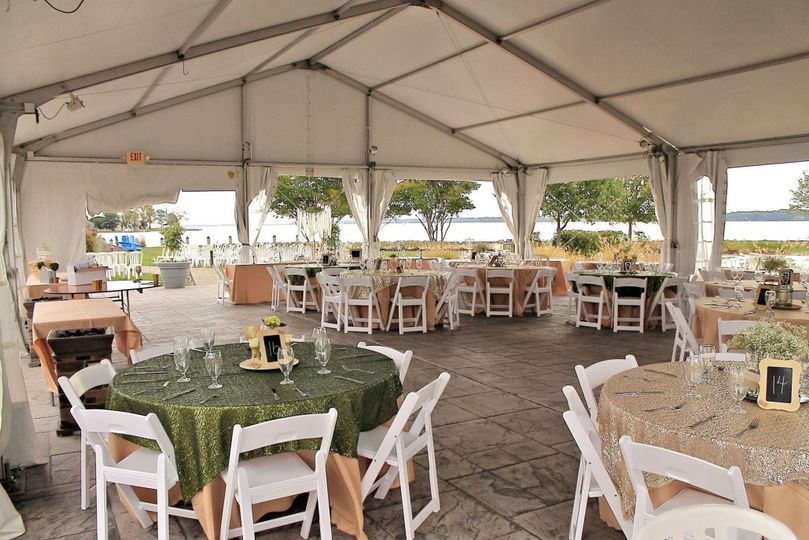 Reception tent setup