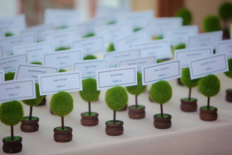 Mini trees served as escort cards.
