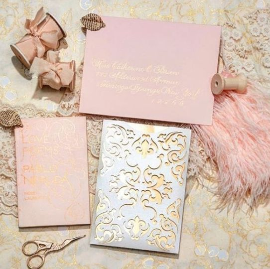 Pink and gold themed invitation