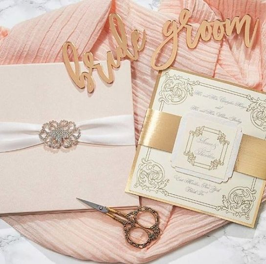 Peach and gold themed invitation