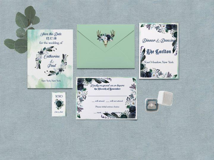 Tmx Bohoblues2a 51 115850 V1 Kew Gardens, NY wedding invitation