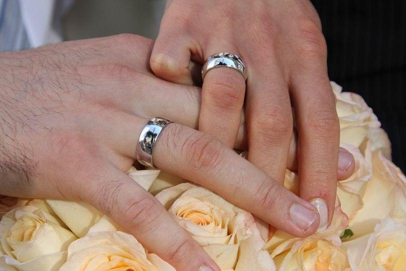 Polka Dot Matching Wedding Bands in Platinum and Diamonds.
