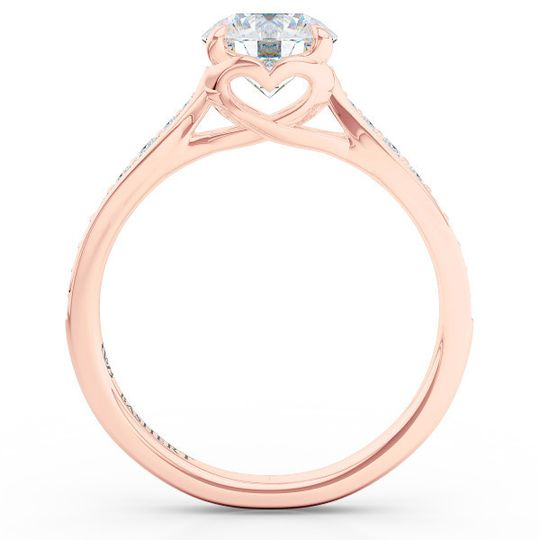 custom solitaire ribbon hearts engagement ring in