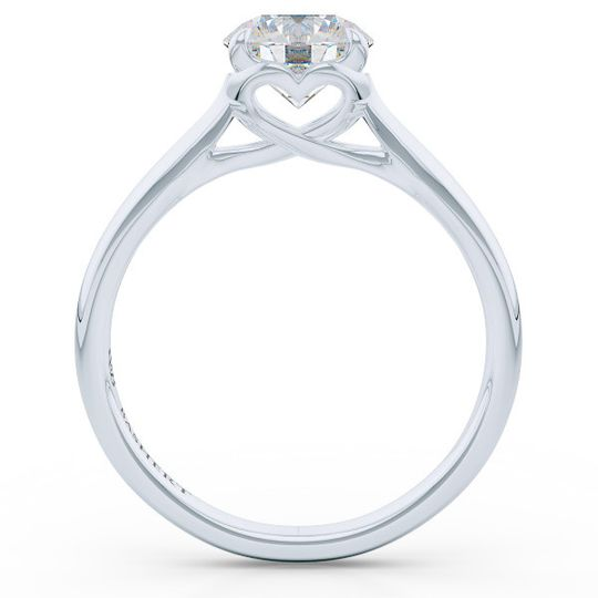 Hearts in Love  Bright White Gold or Platinum  Bashert's Jewelry delicately feminine Solitaire with...