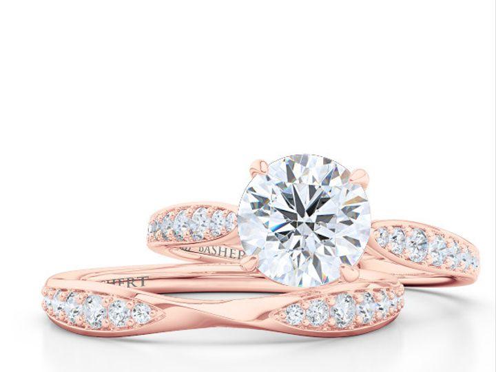 Tmx 1438386044425 Custom Solitaire Ribbon Hearts Engagement Ring In  Boca Raton wedding jewelry
