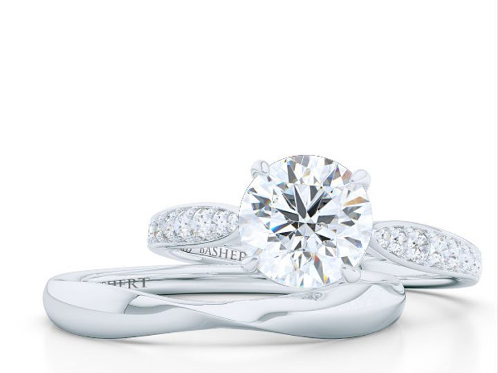 Tmx 1438386057304 Custom Solitaire Ribbon Hearts Engagement Ring In  Boca Raton wedding jewelry