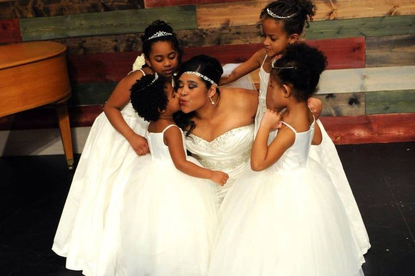 Bride with children