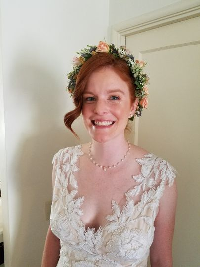 Bride's flower crown and dress