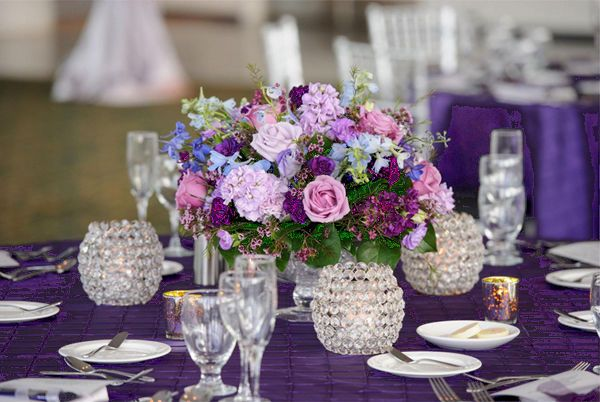 Lavender and purple centerpiece with votives