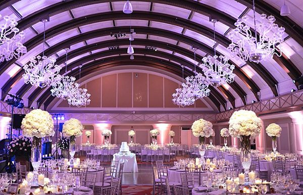 Elevated white wedding centerpieces