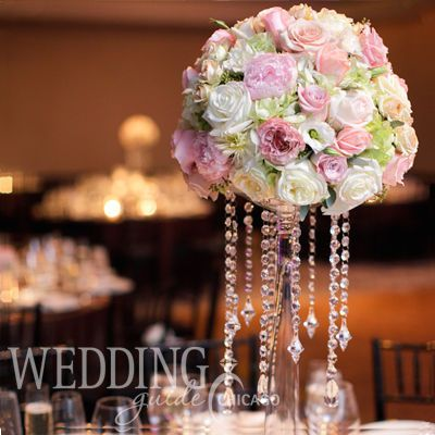 Elevated centerpiece with crystals