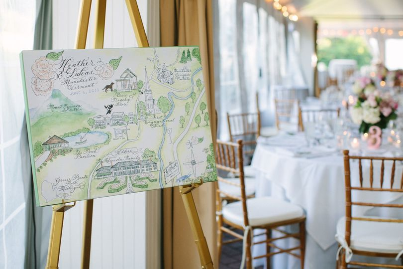 heather watercolor wedding map at reception
