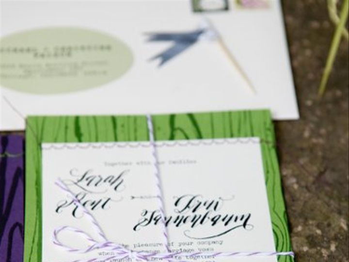 Tmx 1318196314031 LaraKentcalligraphyweddinginvitationDIYgreenpurplemodernfont2 Farmington, MI wedding invitation