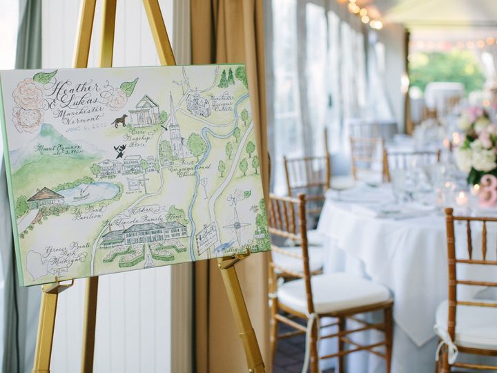Tmx 1456464647913 Heather Watercolor Wedding Map At Reception Farmington, MI wedding invitation