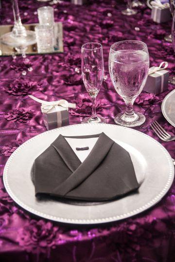 Table napkin folded like a robe