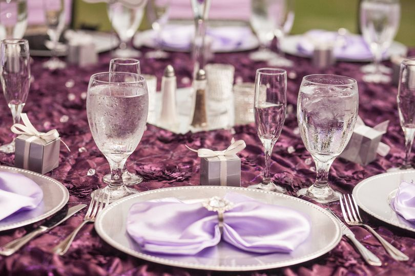 Purple table linen cover