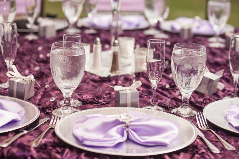 Purple reception table decor
