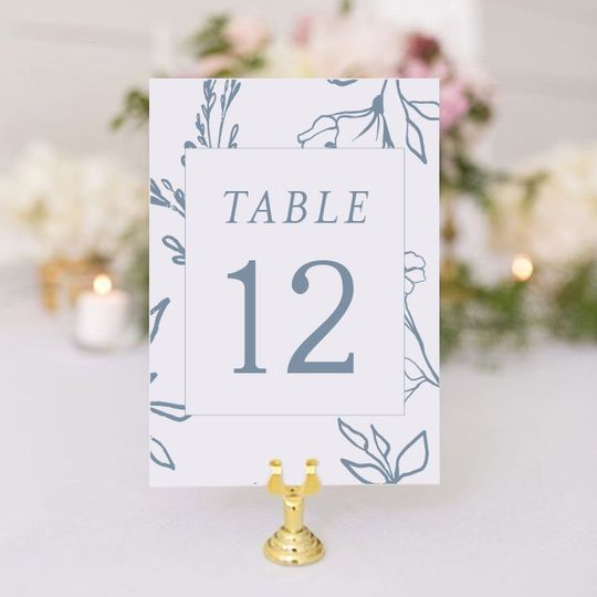 Dusty Blue Table Numbers