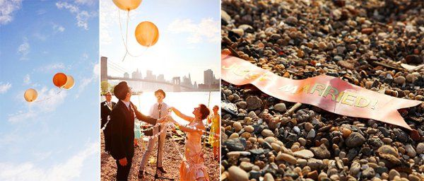 Coney Island Circus theme Wedding - the ceremony in Dumbo, NYC