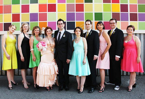 Colorful Bridal Party in Dumbo. Circul Coney Island Theme Wedding