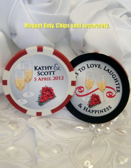 Our round donut shape Magnet is placed on the outside portion of the chip with your personalized...