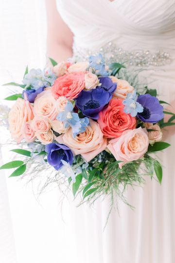 Blue, Blush and Coral Bouquet