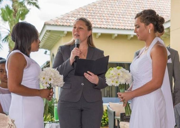 Officiating the ceremony of the brides