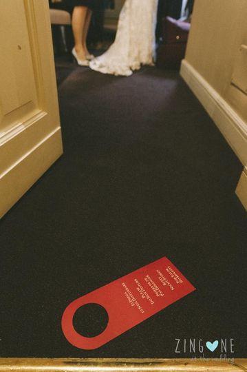 Please, do not disturb bride getting dress!