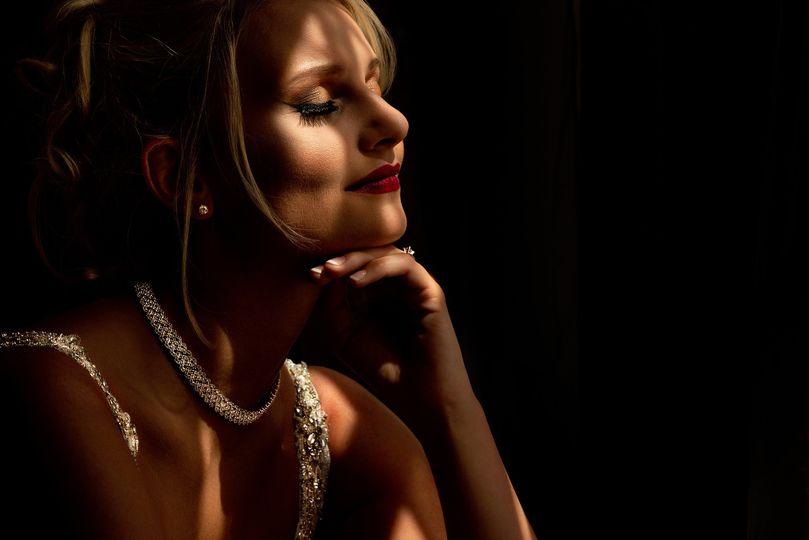 Bride dramatic lighting