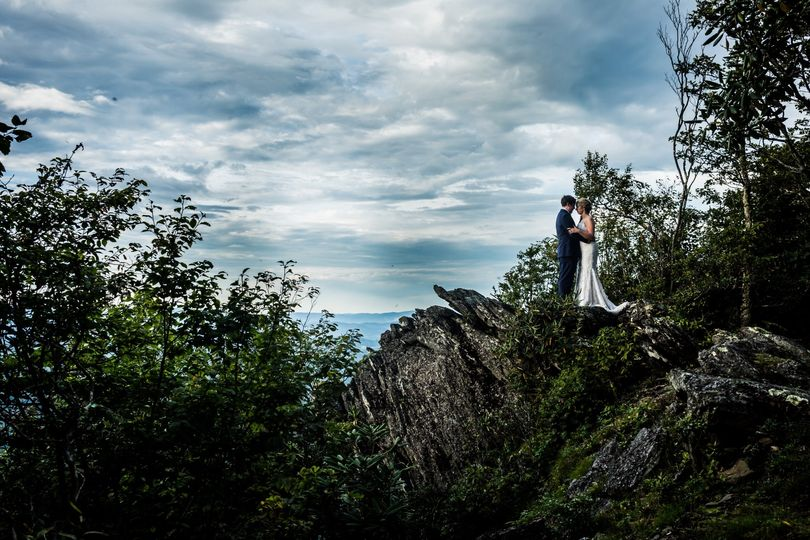 Bride and Groom on Cliff