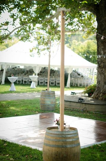 Dance floor and tent for wedding reception. Rented through Advantage Tent Rental Lexington
