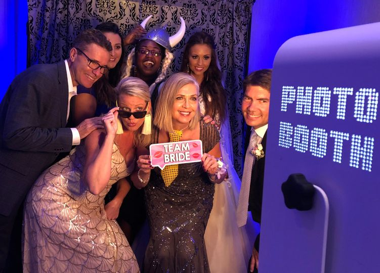 Guests have fun with the photo booth