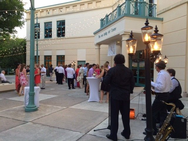 outside reception with band