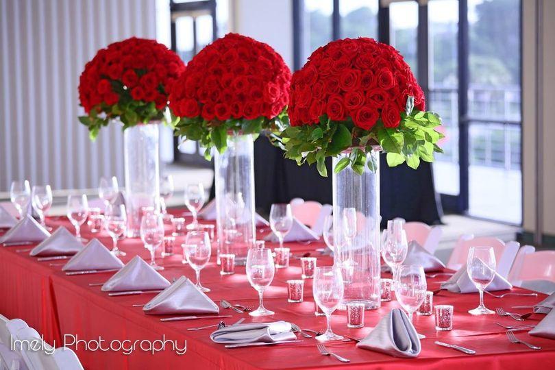 Raised rose bouquet centerpieces
