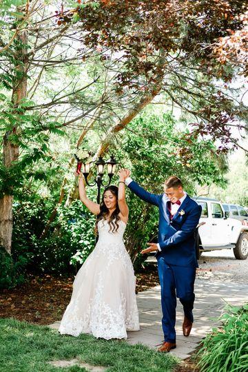 Bride and groom entering