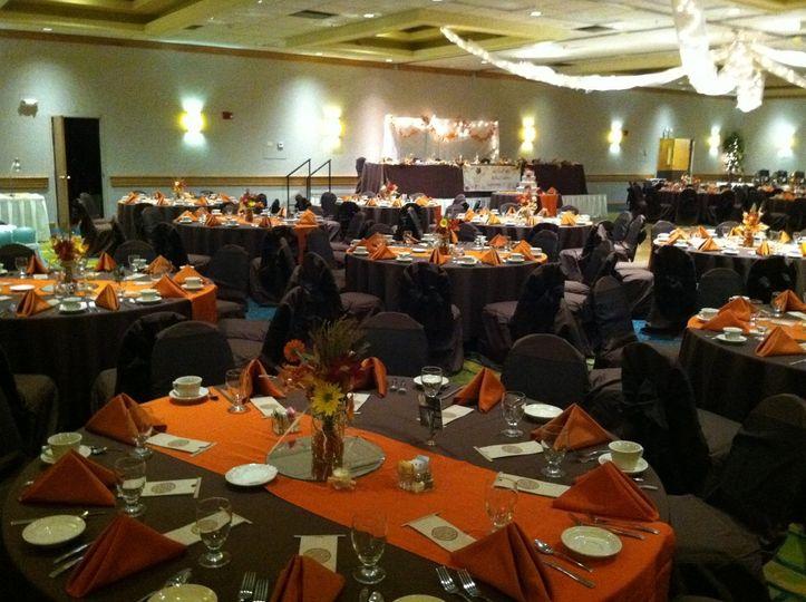 Orange decor for the reception