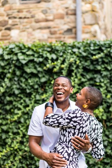 Engagement session laughter