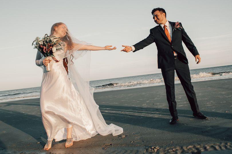 Wedding portrait on a beach