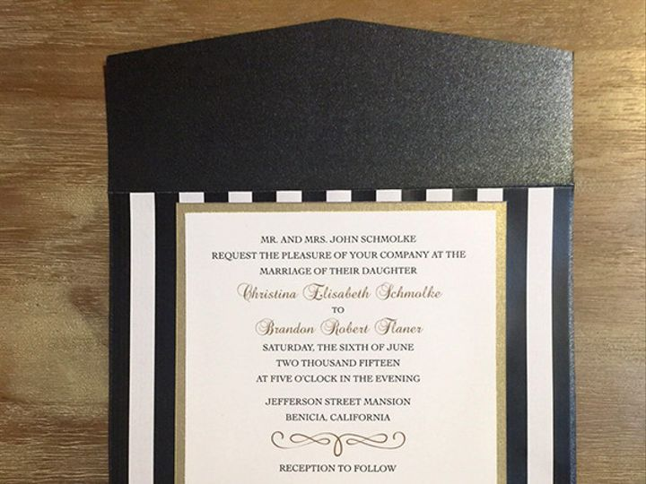 Tmx 1439863218940 Blk White Stripe Invite La Quinta wedding invitation