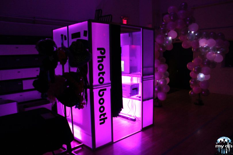 Our Photo Booths light up to match your wedding theme and colors.