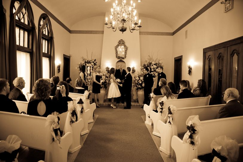 Wedding ceremony inside the Victoria Wedding Chapel