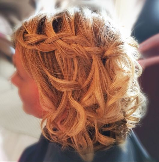 Short hair Waterfall braid bridal hairstyle
