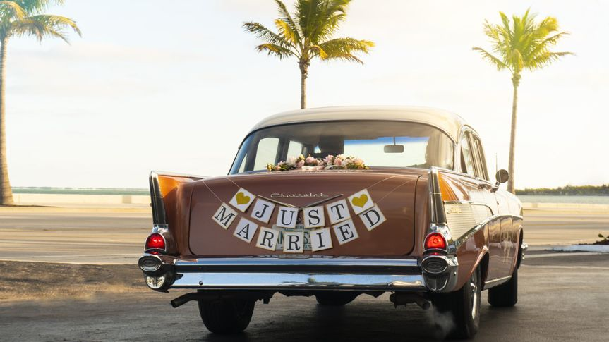 1957 Chevy Just Married sign